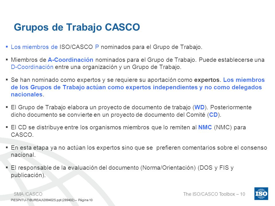 Grupos de Trabajo CASCO