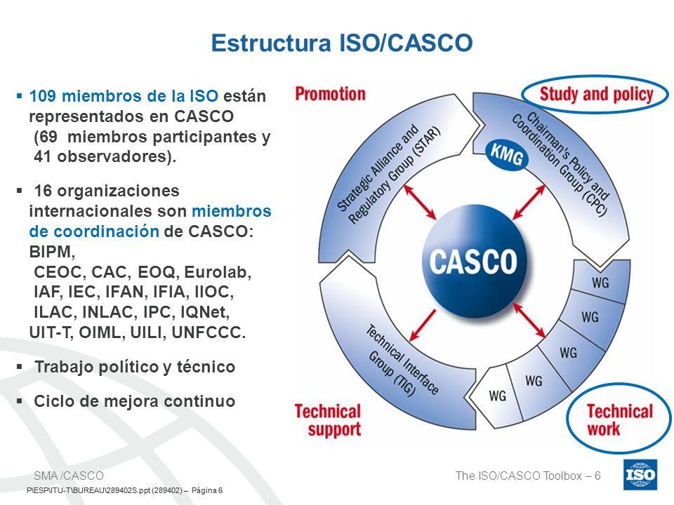 Estructura ISO/CASCO 109 miembros de la ISO están representados en CASCO (69 miembros participantes y 41 observadores).
