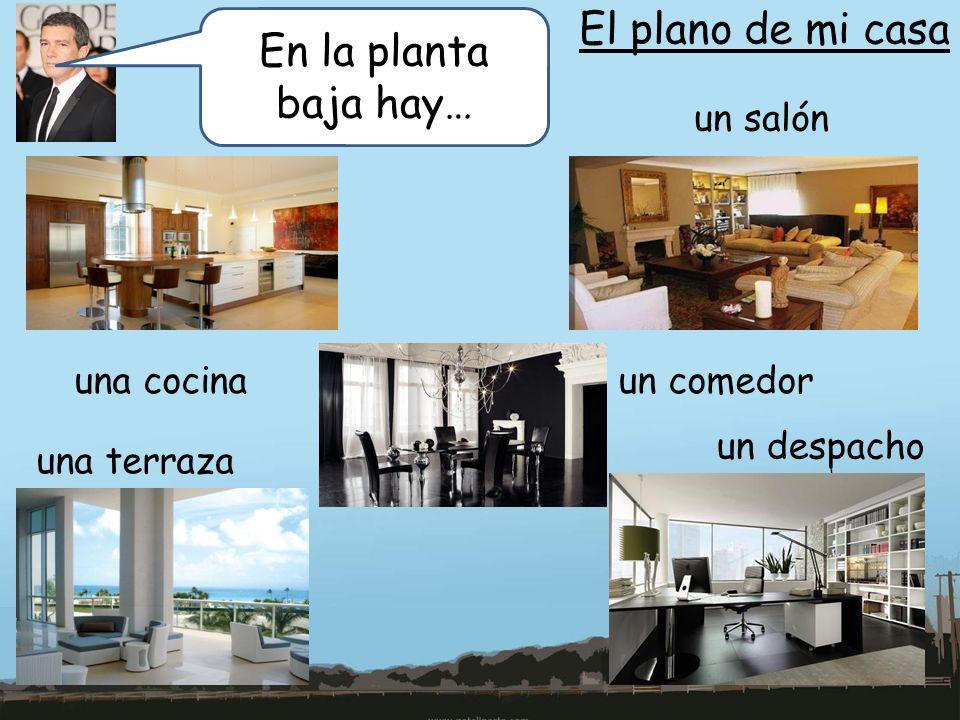El plano de mi casa En la planta baja hay… un salón una cocina
