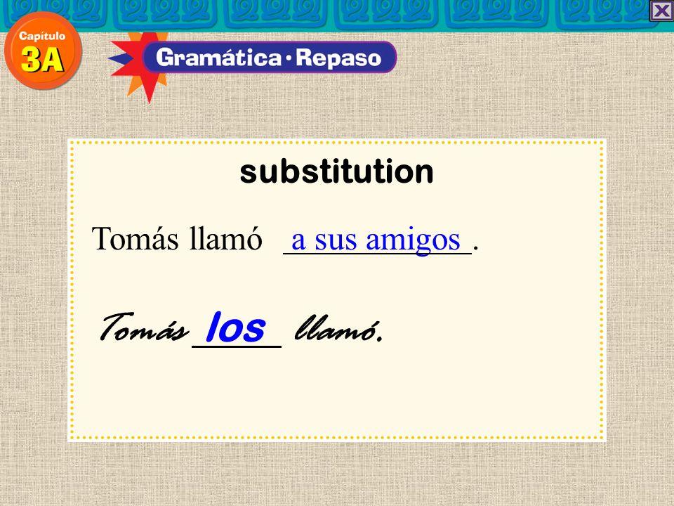substitution Tomás llamó a sus amigos . Tomás los llamó. 19