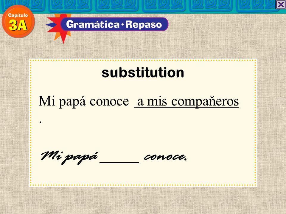 substitution Mi papá conoce a mis compaňeros . Mi papá conoce. 20
