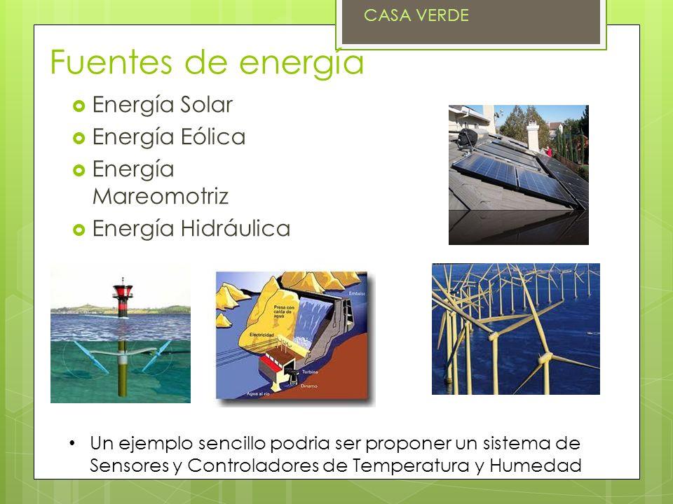 Fuentes de energía Energía Solar Energía Eólica Energía Mareomotriz