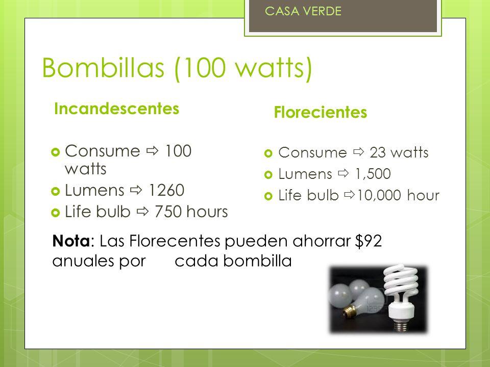 Bombillas (100 watts) Incandescentes Florecientes Consume  100 watts