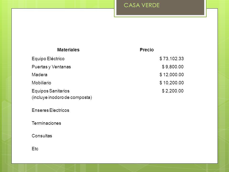 CASA VERDE Materiales Precio Equipo Eléctrico $ 73,102.33