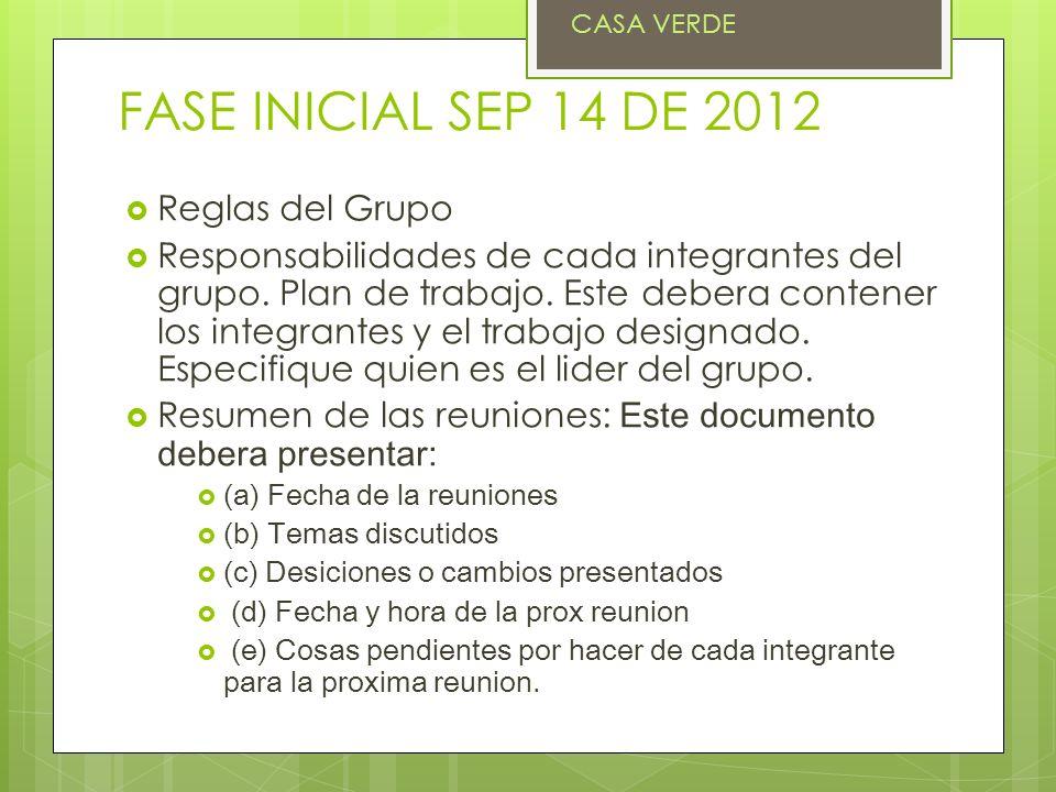 FASE INICIAL SEP 14 DE 2012 Reglas del Grupo