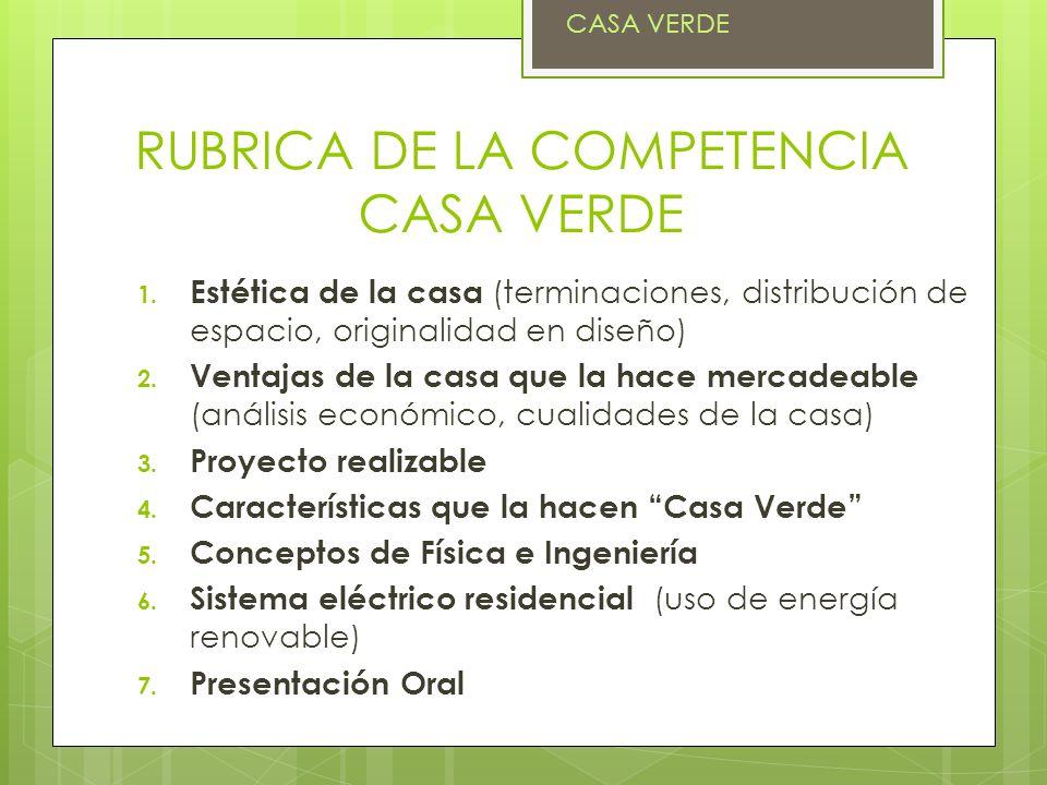 RUBRICA DE LA COMPETENCIA CASA VERDE
