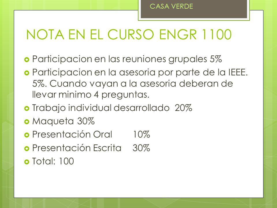 NOTA EN EL CURSO ENGR 1100 Participacion en las reuniones grupales 5%