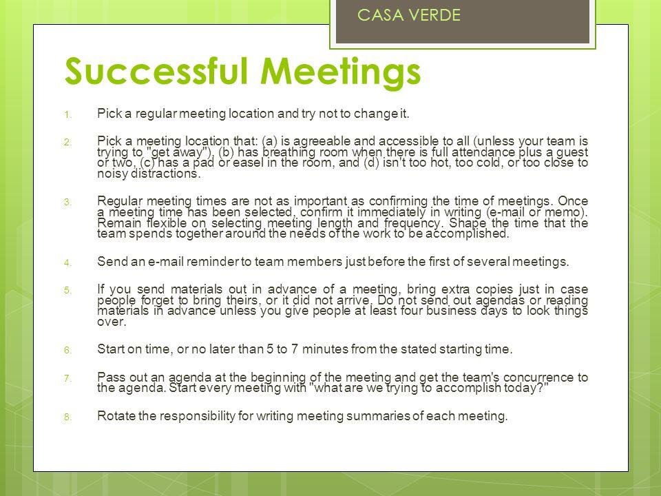 Successful Meetings CASA VERDE