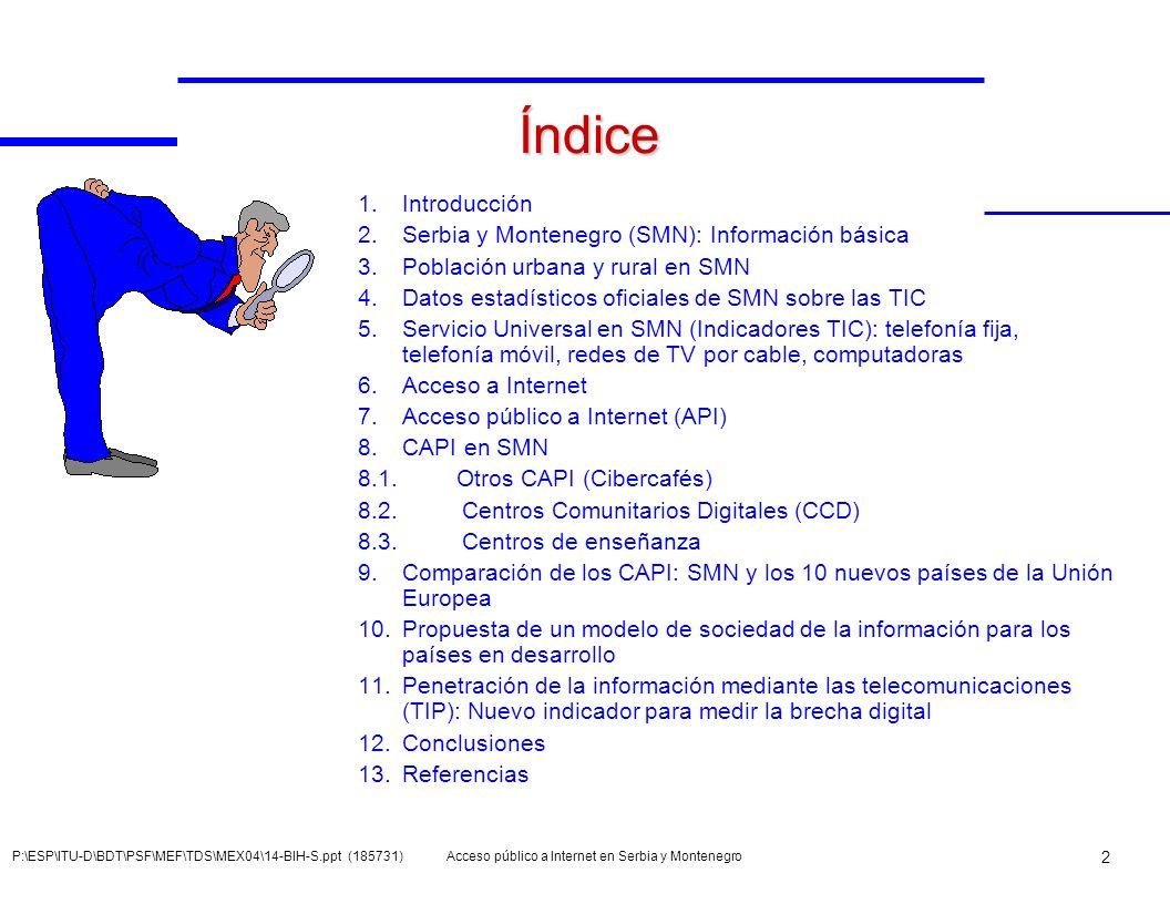 Índice Introducción Serbia y Montenegro (SMN): Información básica