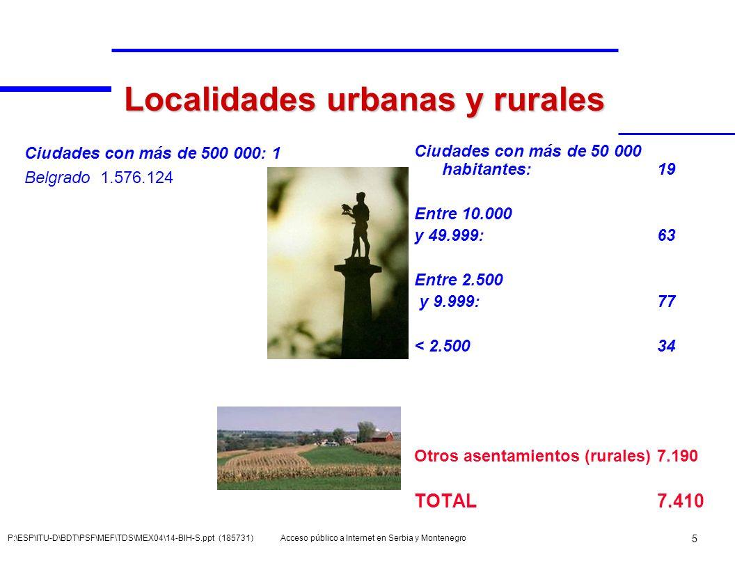 Localidades urbanas y rurales