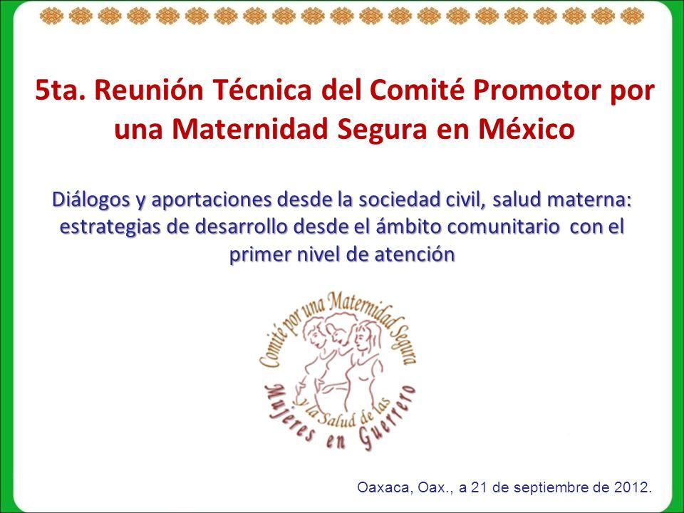 5ta. Reunión Técnica del Comité Promotor por una Maternidad Segura en México