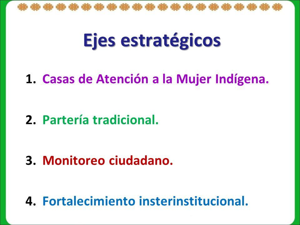 Ejes estratégicos Casas de Atención a la Mujer Indígena.