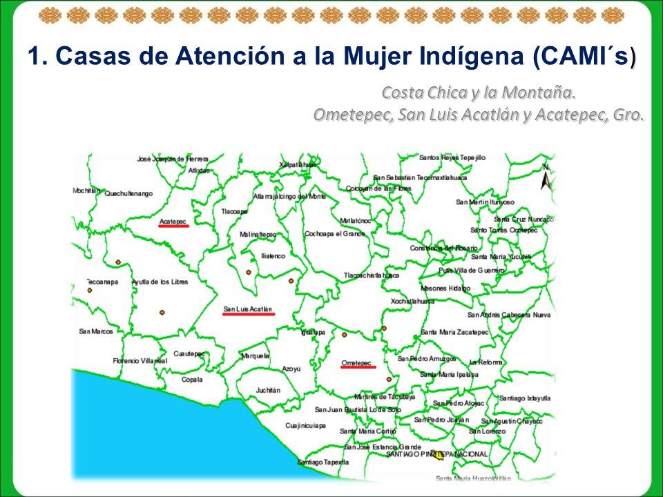 1. Casas de Atención a la Mujer Indígena (CAMI´s)