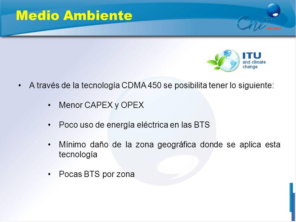 Medio Ambiente A través de la tecnología CDMA 450 se posibilita tener lo siguiente: Menor CAPEX y OPEX.