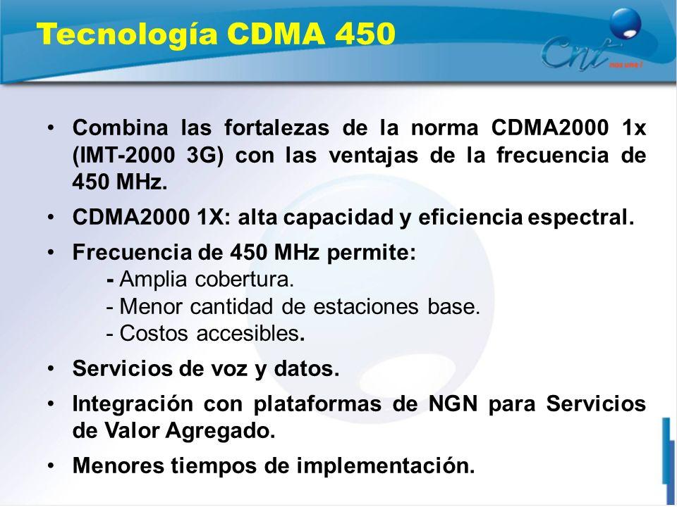 Tecnología CDMA 450 Combina las fortalezas de la norma CDMA2000 1x (IMT-2000 3G) con las ventajas de la frecuencia de 450 MHz.