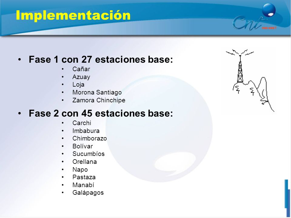 Implementación Fase 1 con 27 estaciones base: