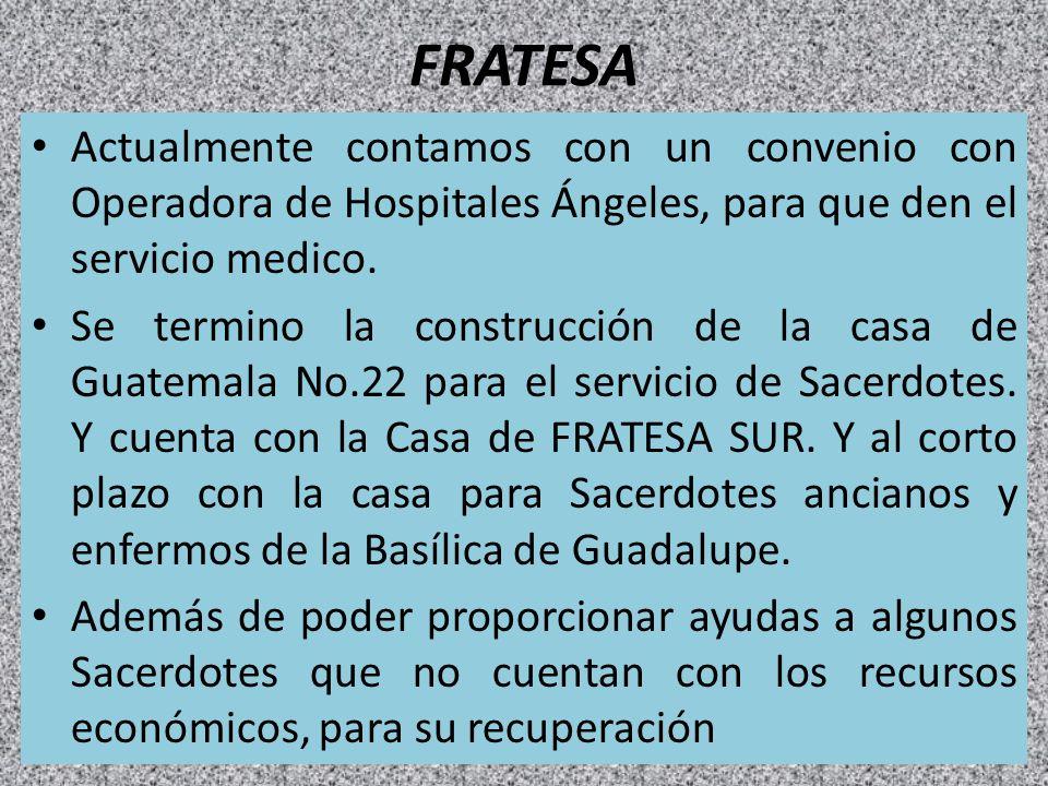 FRATESA Actualmente contamos con un convenio con Operadora de Hospitales Ángeles, para que den el servicio medico.