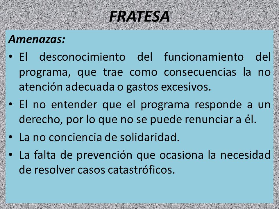 FRATESA Amenazas: El desconocimiento del funcionamiento del programa, que trae como consecuencias la no atención adecuada o gastos excesivos.