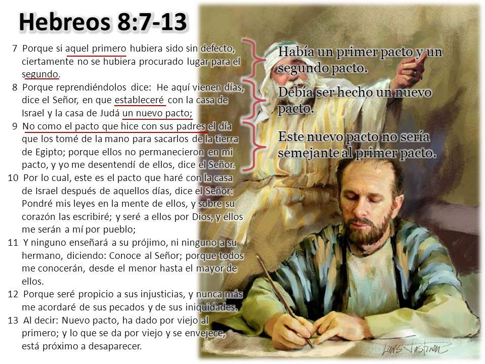 Hebreos 8:7-13 Había un primer pacto y un segundo pacto.