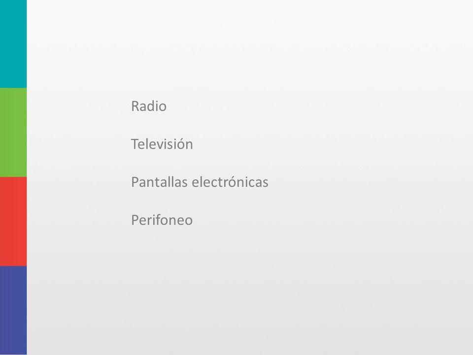 Radio Televisión Pantallas electrónicas Perifoneo