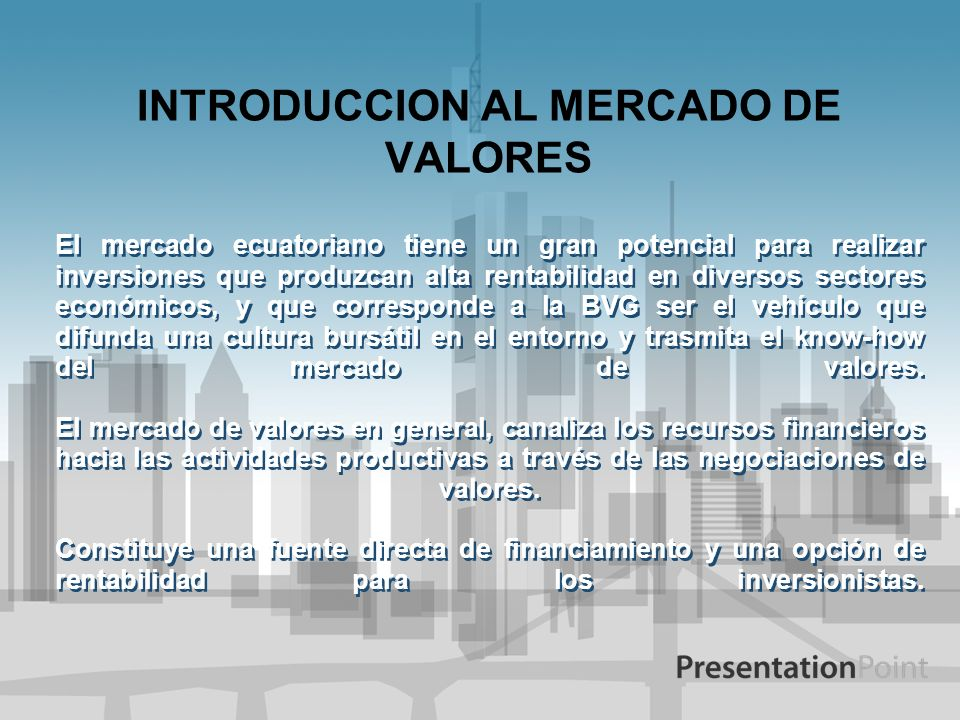 INTRODUCCION AL MERCADO DE VALORES