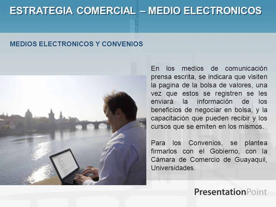 ESTRATEGIA COMERCIAL – MEDIO ELECTRONICOS