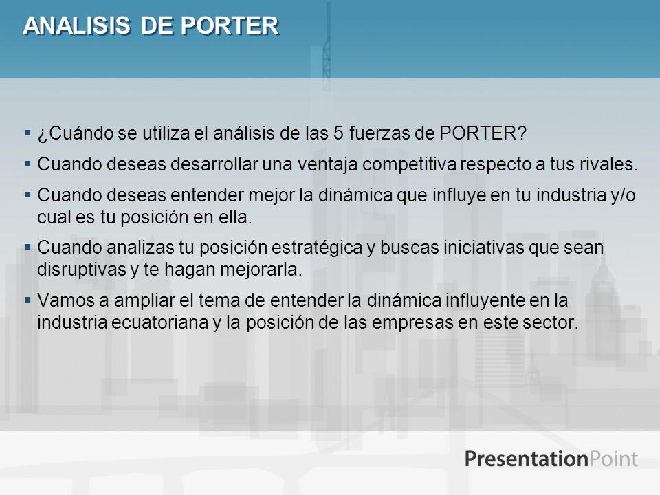 ANALISIS DE PORTER ¿Cuándo se utiliza el análisis de las 5 fuerzas de PORTER