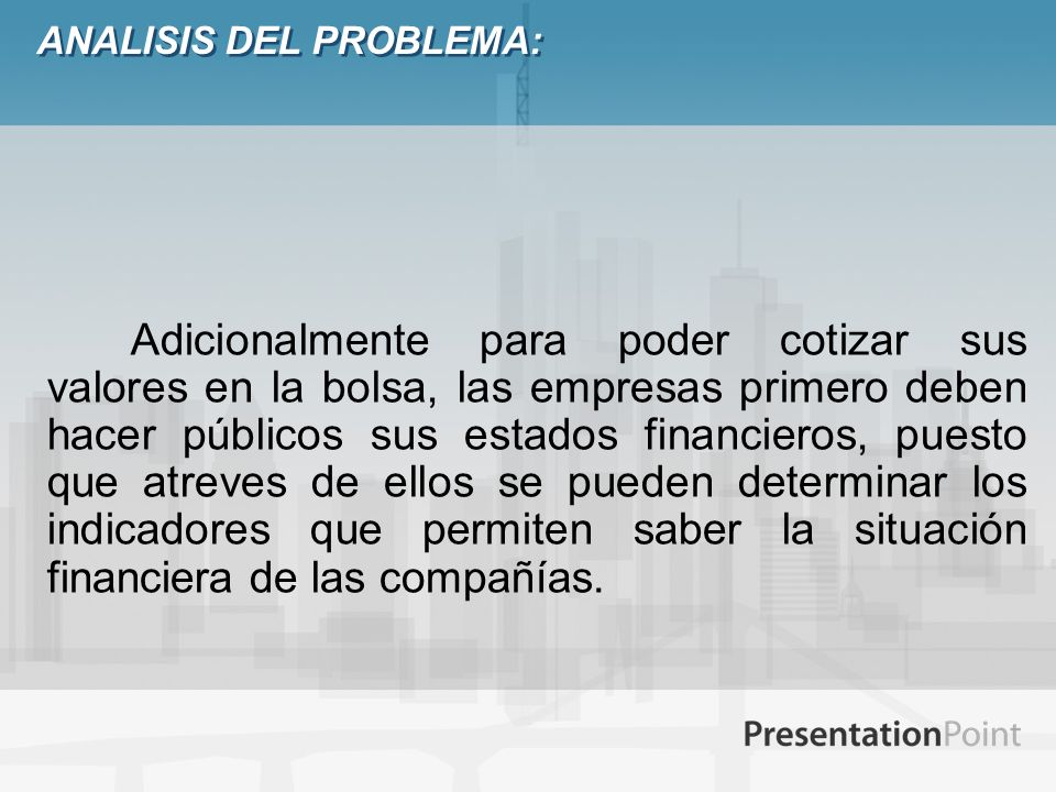 ANALISIS DEL PROBLEMA: