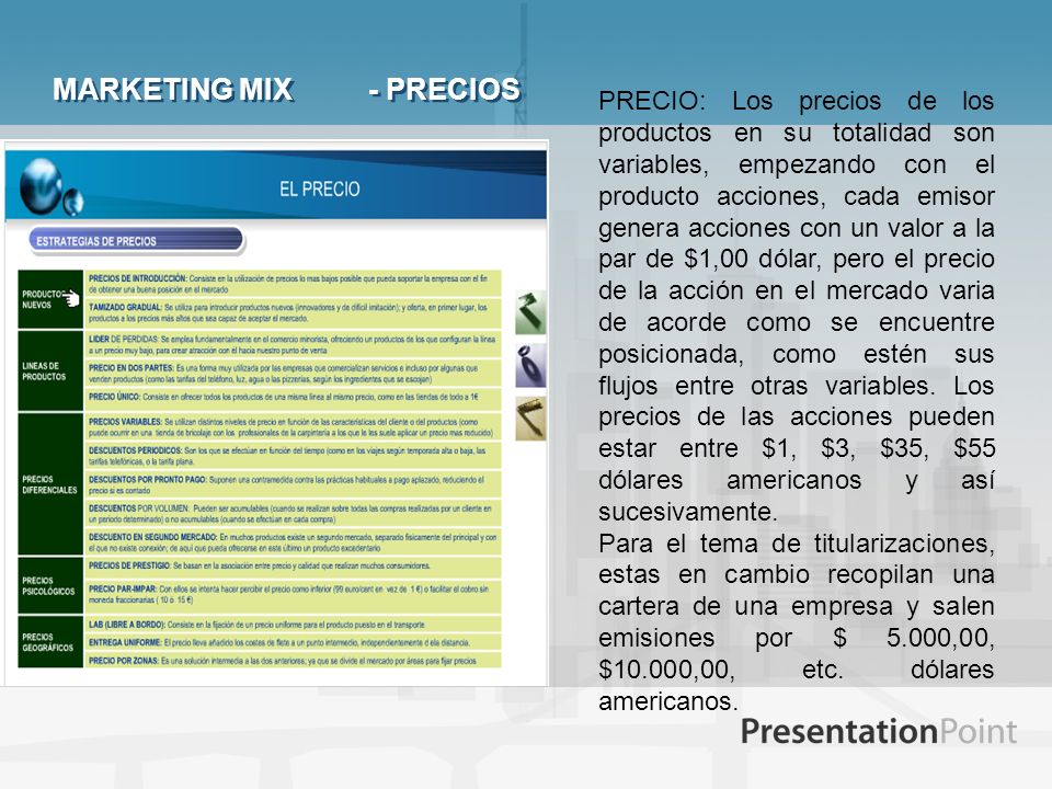 MARKETING MIX - PRECIOS