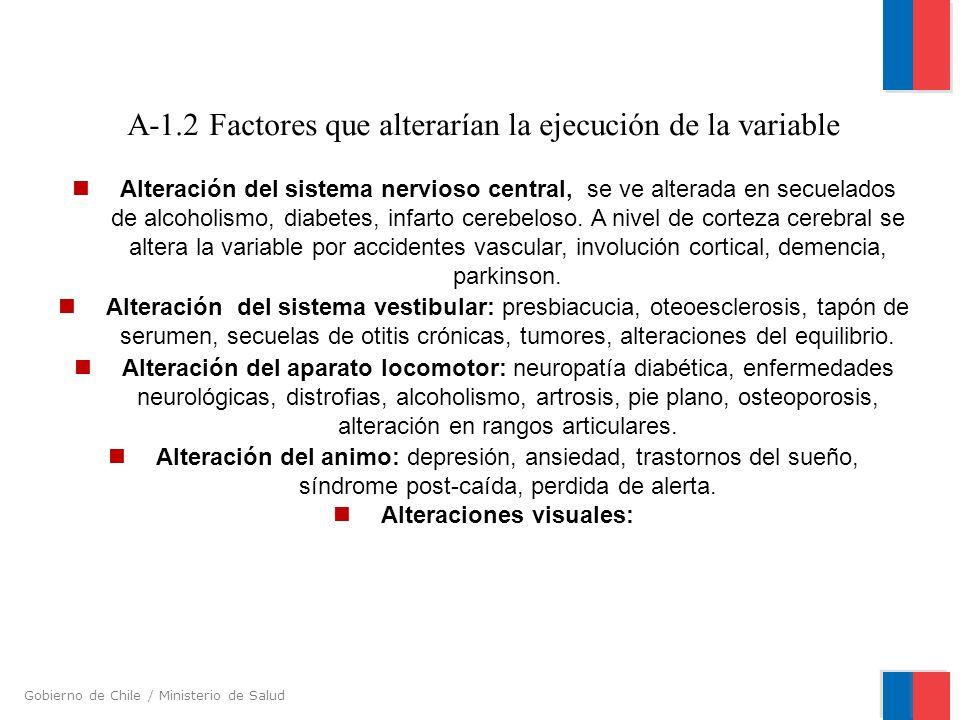 A-1.2 Factores que alterarían la ejecución de la variable