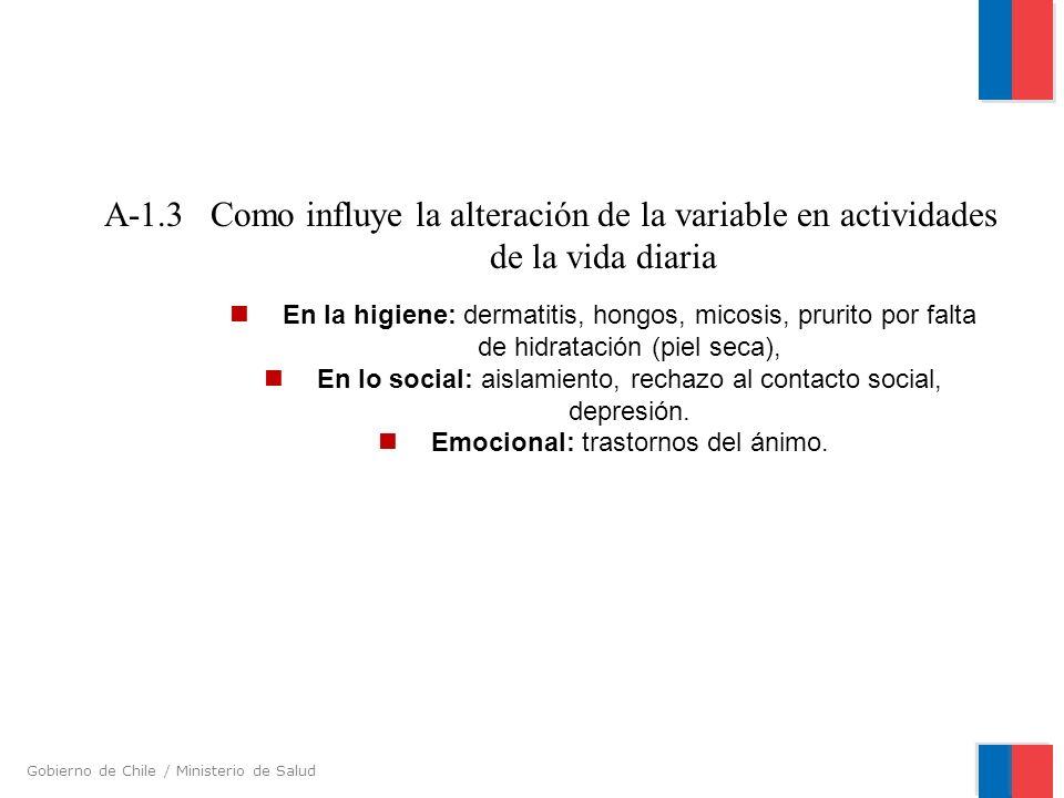 A-1.3 Como influye la alteración de la variable en actividades de la vida diaria