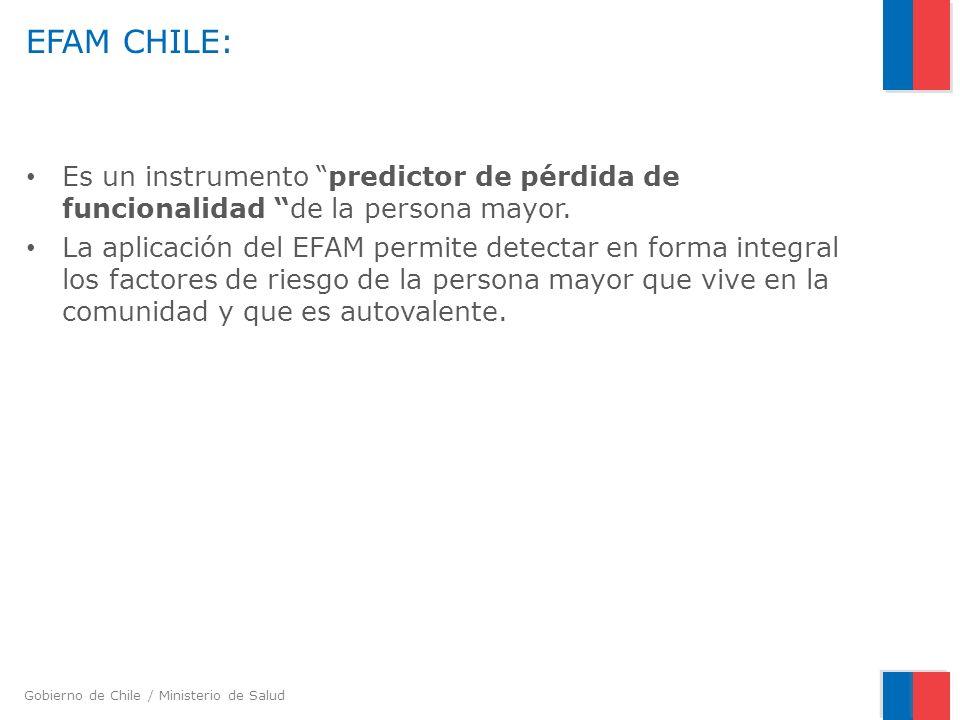 EFAM CHILE: Es un instrumento predictor de pérdida de funcionalidad de la persona mayor.