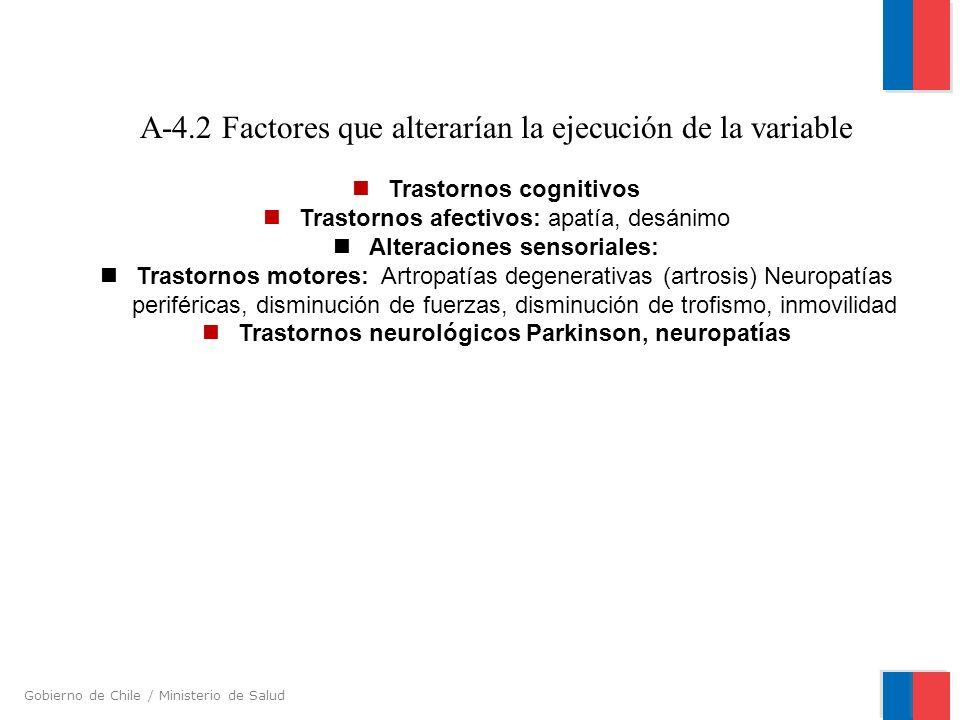 A-4.2 Factores que alterarían la ejecución de la variable