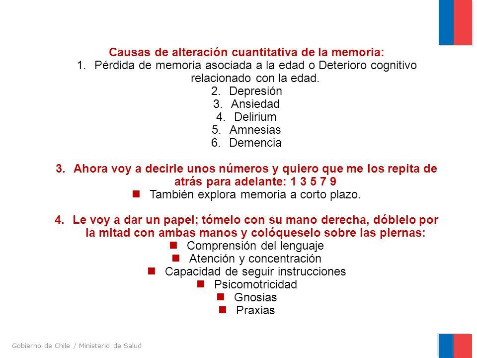 Causas de alteración cuantitativa de la memoria: