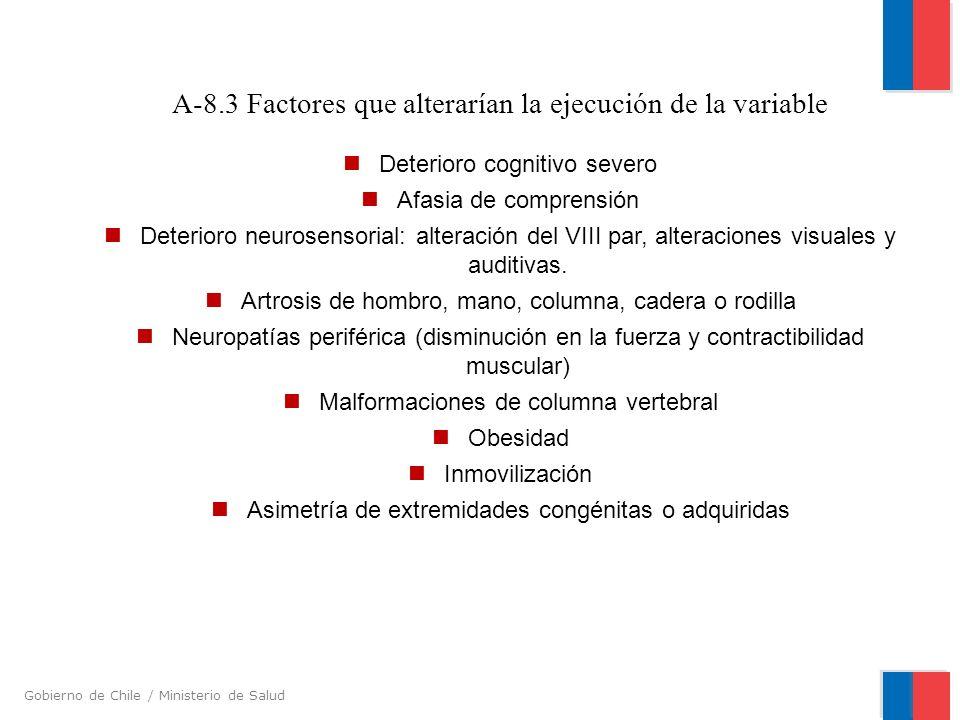 A-8.3 Factores que alterarían la ejecución de la variable