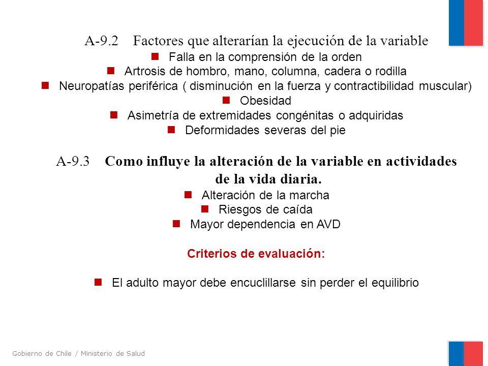 A-9.2 Factores que alterarían la ejecución de la variable