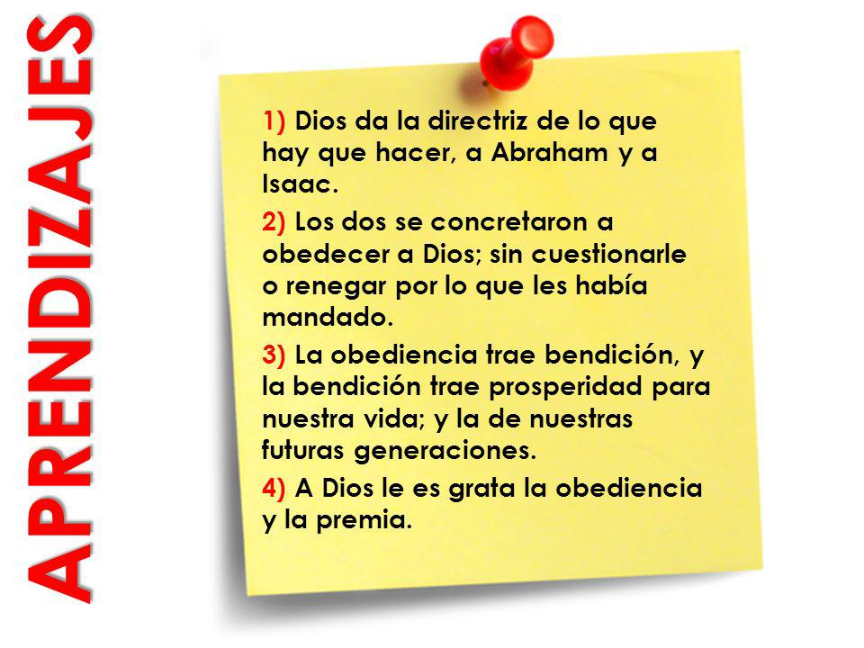 1) Dios da la directriz de lo que hay que hacer, a Abraham y a Isaac.