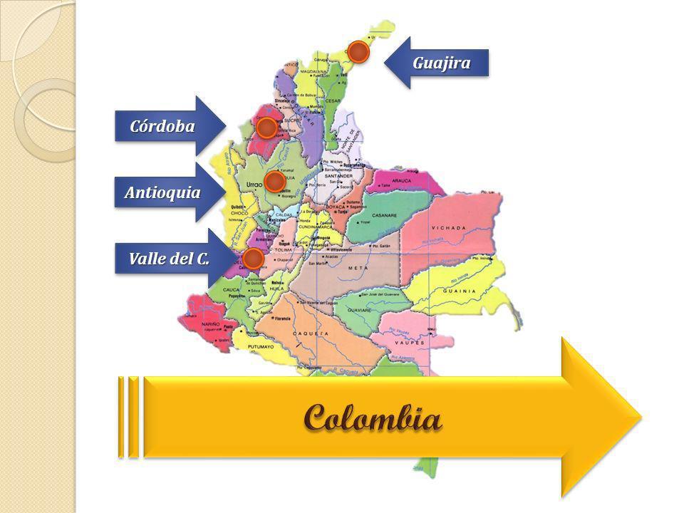 Guajira Córdoba Antioquia Valle del C. Colombia