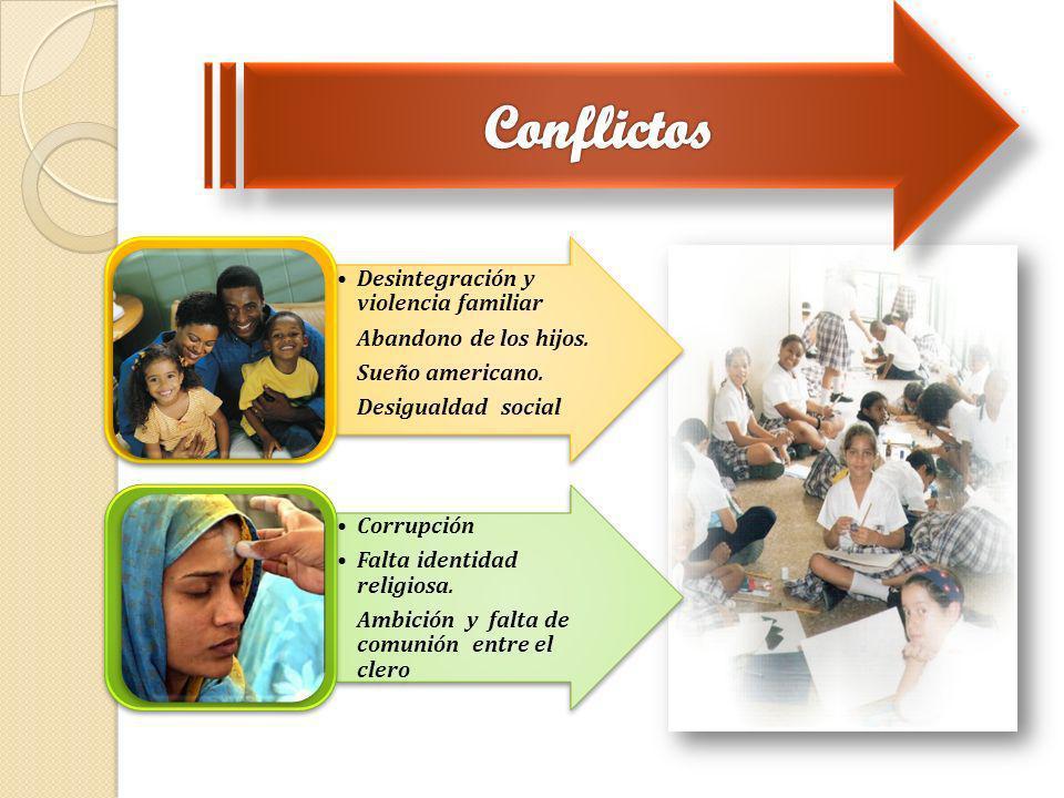 Conflictos Desintegración y violencia familiar Abandono de los hijos.