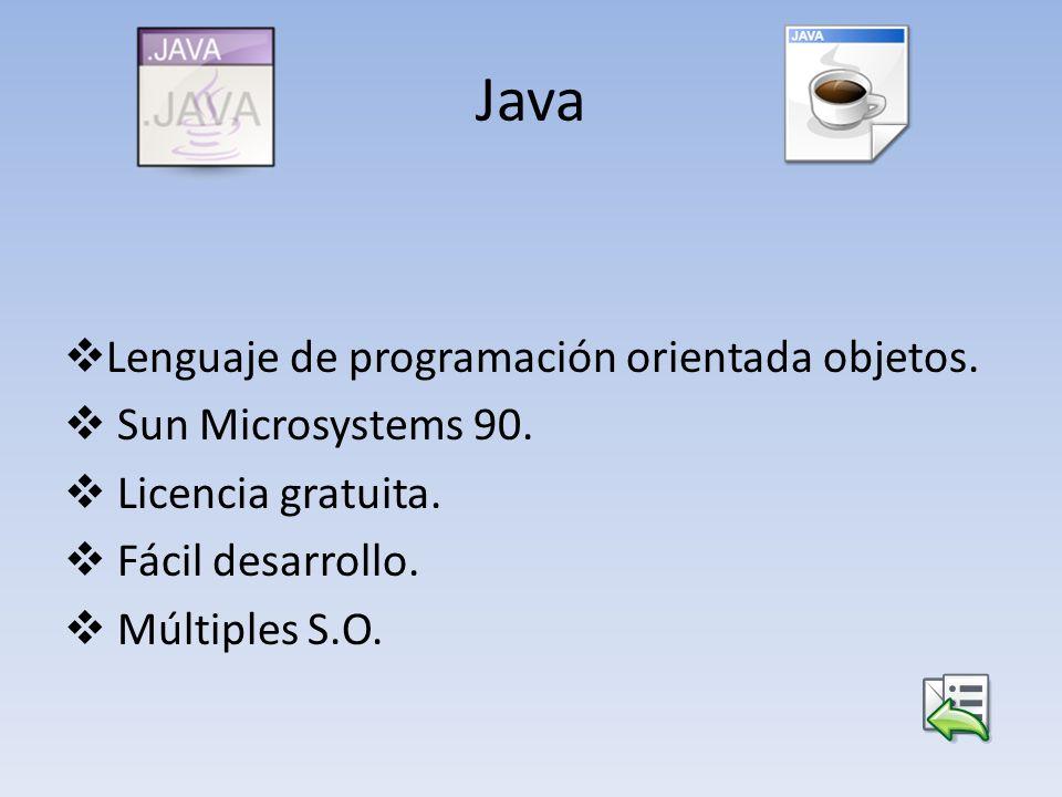 Java Lenguaje de programación orientada objetos. Sun Microsystems 90.
