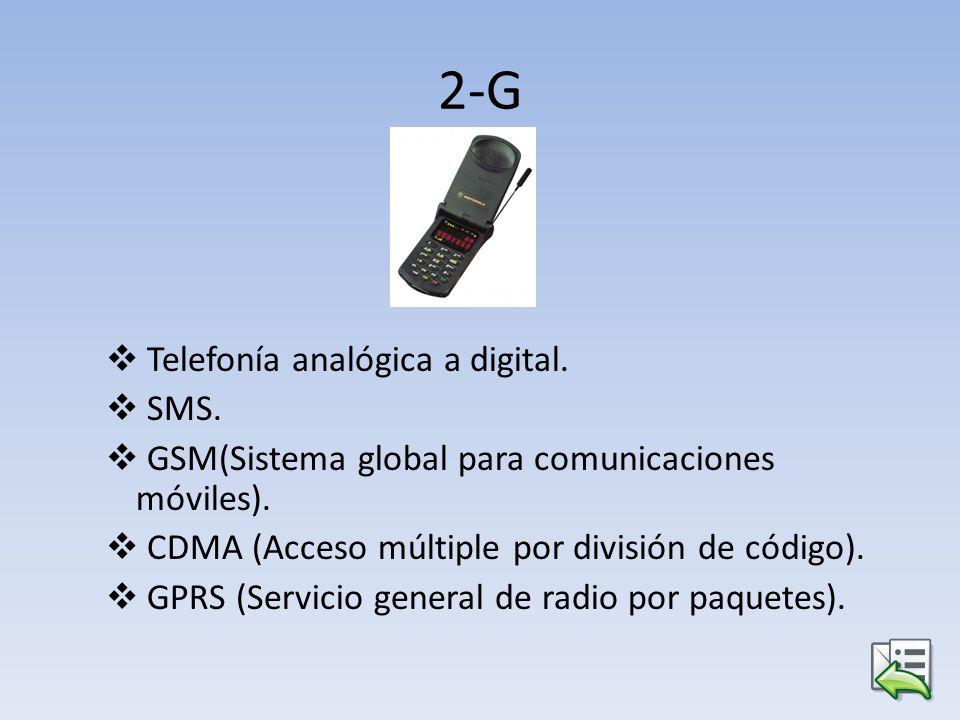 2-G Telefonía analógica a digital. SMS.
