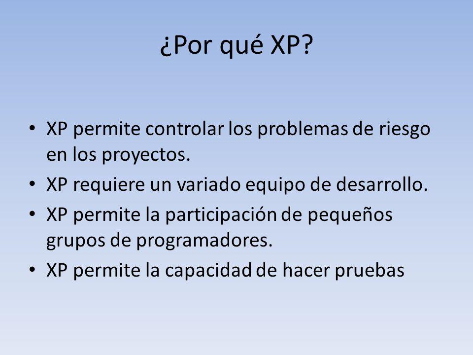 ¿Por qué XP XP permite controlar los problemas de riesgo en los proyectos. XP requiere un variado equipo de desarrollo.