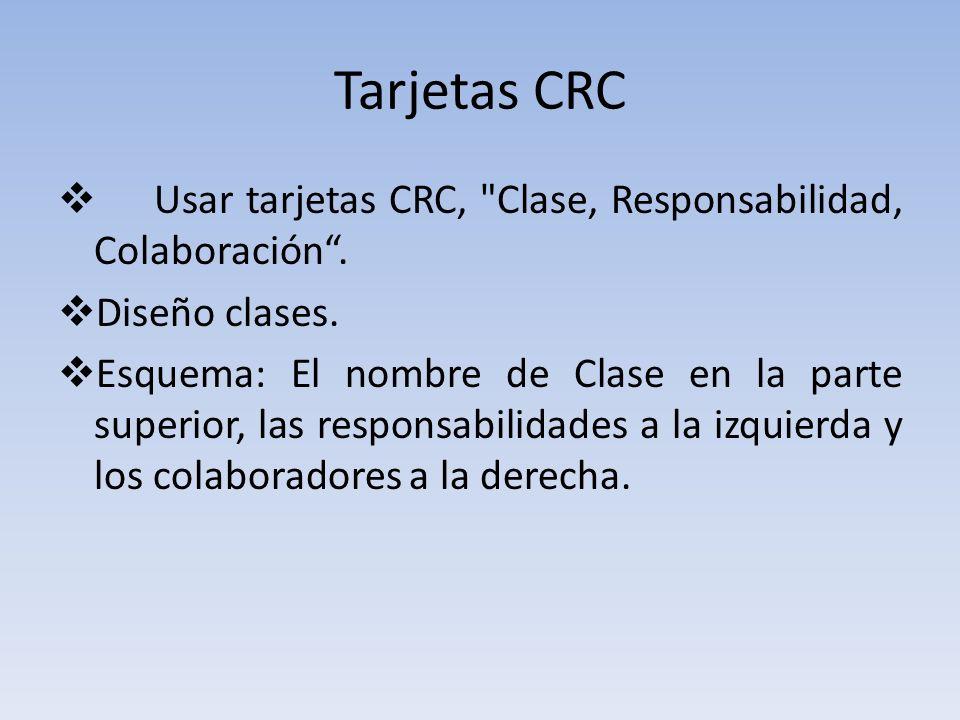 Tarjetas CRC Usar tarjetas CRC, Clase, Responsabilidad, Colaboración . Diseño clases.