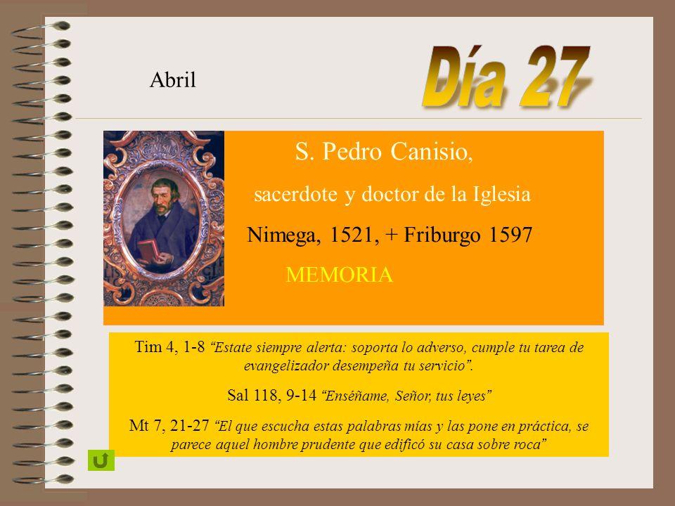 Día 27 Abril sacerdote y doctor de la Iglesia
