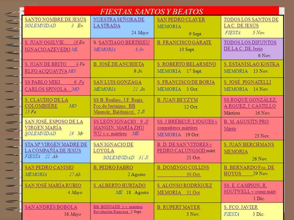 FIESTAS, SANTOS Y BEATOS