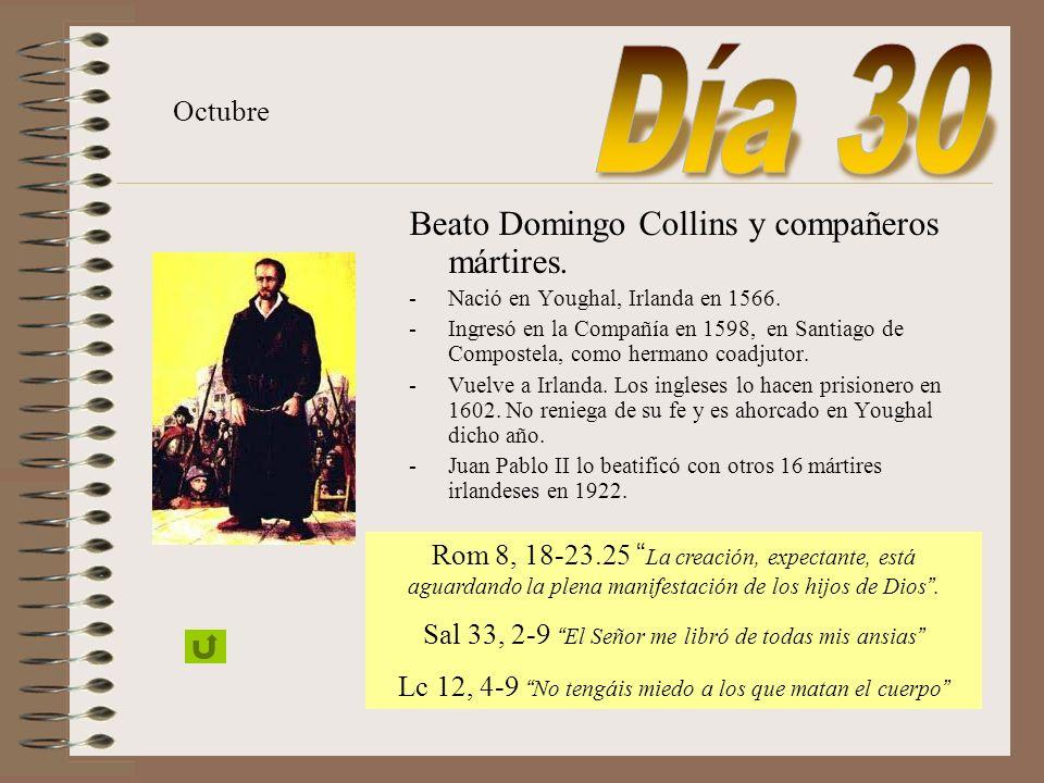 Día 30 Beato Domingo Collins y compañeros mártires. Octubre
