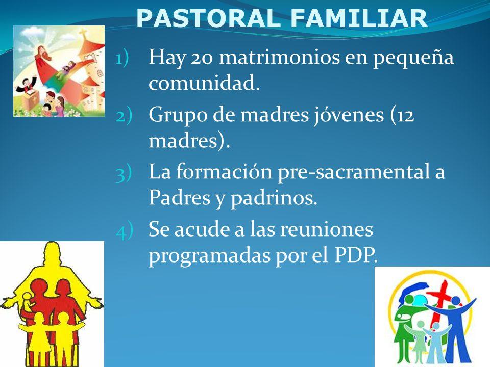PASTORAL FAMILIAR Hay 20 matrimonios en pequeña comunidad.
