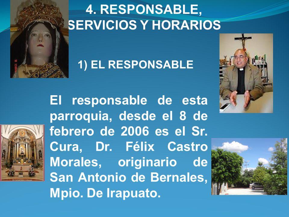 4. RESPONSABLE, SERVICIOS Y HORARIOS