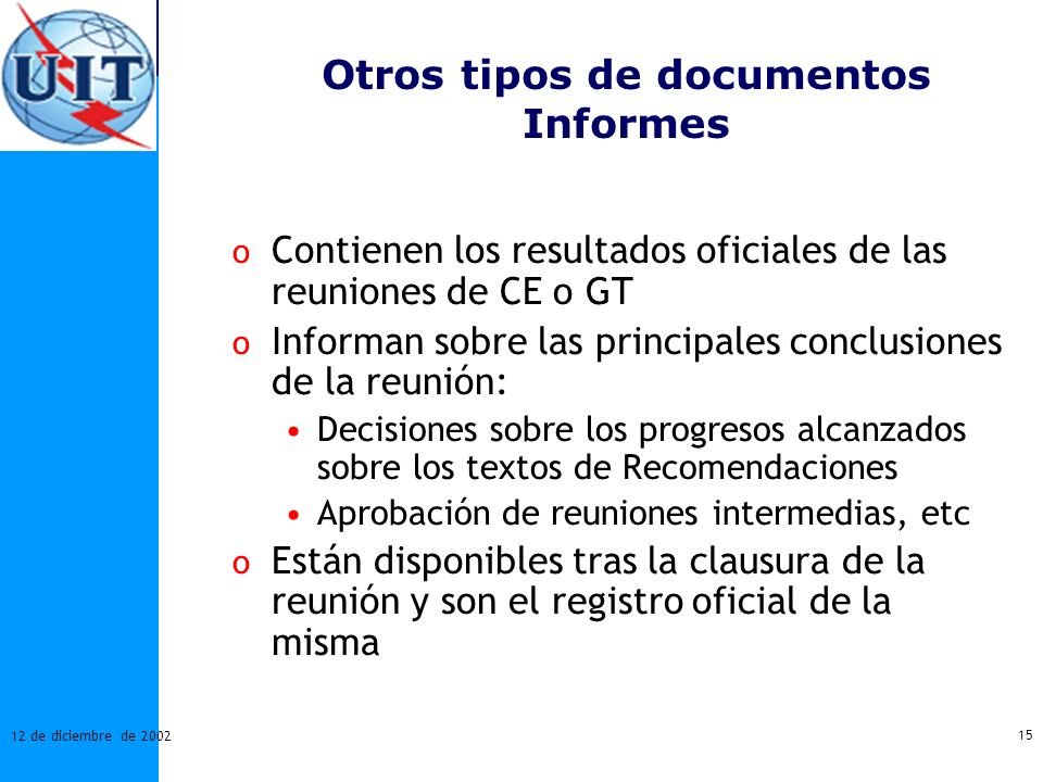 Otros tipos de documentos Informes