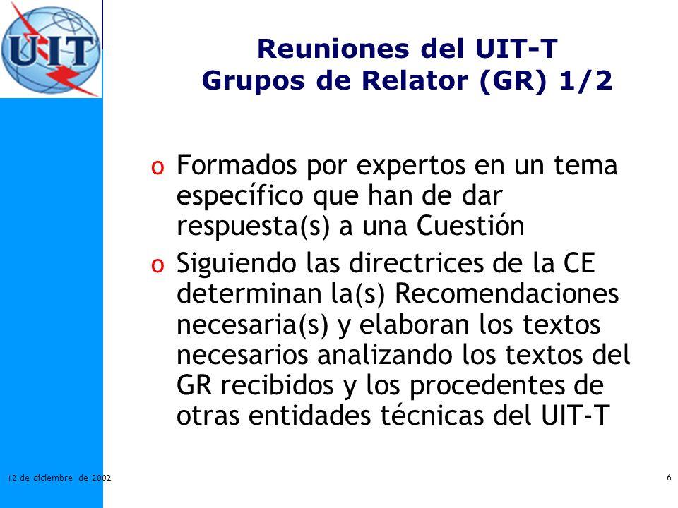 Reuniones del UIT-T Grupos de Relator (GR) 1/2
